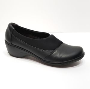 Clark's Black Leather Wedge Slip-On